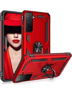 Ntech Samsung S21 Plus Hoesje - Samsung Galaxy S21 Plus armor case met Ring houder / Ring vinger houder / standaard - Rood