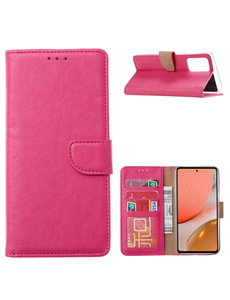 Ntech Samsung A72 hoesje bookcase Pink - Samsung Galaxy A72 5G portemonnee book case hoes cover