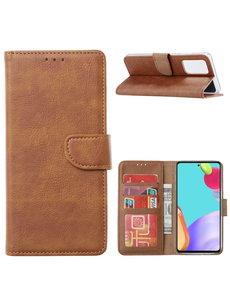 Ntech Samsung A52 hoesje Bruin - Samsung Galaxy A52 5G bookcase met Pasjeshouder
