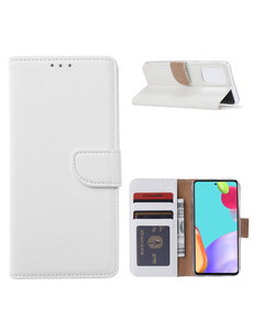 Ntech Samsung A52 hoesje Wit - Samsung Galaxy A52 5G bookcase met Pasjeshouder