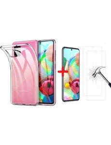 Ntech Samsung A72 siliconen backcover - Samsung Galaxy A72 transparant ultra dun TPU hoesje Back case + 2x Glazen Screenprotector