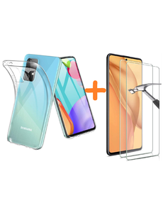 Ntech Samsung A52 hoesje transparant - Samsung Galaxy A52 hoesje casesiliconen hoesjes cover hoes - Hoesje Samsung A52 - 2X Samsung A52 Screenprotector