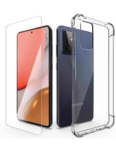 Ntech Samsung A72 Hoesje + 1x Screen Protector, met Samsung Galaxy A72 Anti-Scratch siliconen Shockproof Cases Cover
