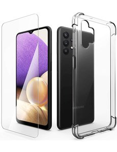 Ntech Samsung A32 Hoesje + 1x Screen Protector, met Samsung Galaxy A32 Anti-Scratch siliconen Shockproof Cases Cover