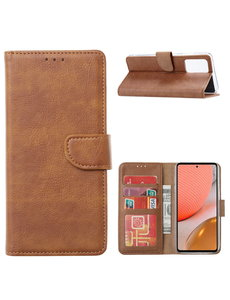 Ntech Samsung A32 Hoesje portemonnee hoes - Samsung Galaxy A32 5G bookcase wallet cover - Bruin
