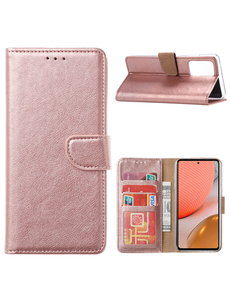 Ntech Samsung A32 Hoesje portemonnee hoes - Samsung Galaxy A32 5G bookcase wallet cover - Rose Goud