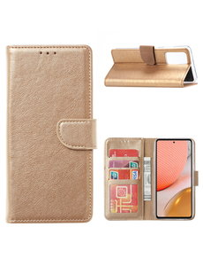 Ntech Samsung A32 Hoesje portemonnee hoes - Samsung Galaxy A32 5G bookcase wallet cover - Goud