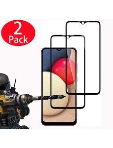 Ntech Screenprotector Samsung A02s Full Cover 2 Pack Screenprotector / tempered glazen Zwart