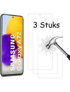 Ntech Samsung A72 Screenprotector - Samsung Galaxy A72 tempered glass Screenprotector - 3 stuks