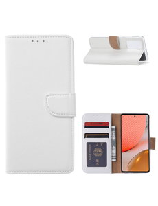 Ntech Samsung A32 Hoesje portemonnee hoes - Samsung Galaxy A32 5G bookcase wallet cover - Wit