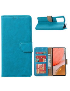 Ntech Samsung A32 Hoesje portemonnee hoes - Samsung Galaxy A32 5G bookcase wallet cover - Blauw