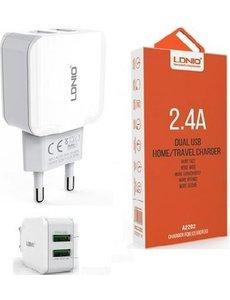 Ldnio universele oplader met 2 usb-aansluiting Oplaadstekker met DUAL 2 USB POORT ADAPTER OPLADER