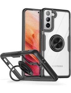 Ntech Samsung S21 hoesje - Luxe carbon TPU Backcover - Samsung Galaxy S21 met Ring houder / Ring vinger houder / standaard - Zwart