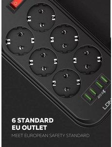 Ldnio Stekkerdoos - Contactloos - Aan/Uit schakelaar - 4 USB ingangen - 2M snoer - Zwart