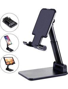 Merkloos Telefoon Tablet Houder - Opvouwbaar en Verstelbaar - Zwart