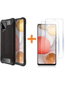 Ntech Samsung A42 5G Hoesje - rugged Armor Hybride case Zwart - Galaxy A42 screenprotector 2 pack Glazen tempered glass