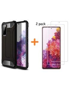 Ntech Samsung S20 FE Hoesje - rugged Armor Hybride case Zwart - Galaxy S20 FE screenprotector 2 pack Glazen tempered glass
