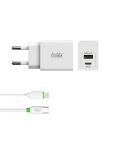 Durata iPhone 12 / 12 Pro 20W USB-C Fast Charger Adapter 2 Poorten Met USB-C naar Lighting Kabel - Durata