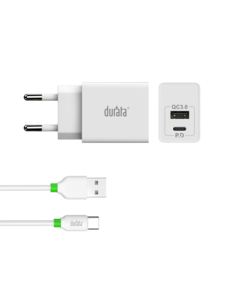 Durata Durata Quick 20W PD oplader USB to Type C  + USB slot voor Samsung, Huawei , Sony