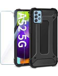 Ntech Samsung A52 5G Hoesje Schokbestendig Hybride hoesje rugged case Zwart - Galaxy A52 1x Screenprotector