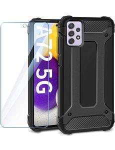 Ntech Samsung A72 5G Hoesje Schokbestendig Hybride hoesje rugged case Zwart - Galaxy A72 1x Screenprotector