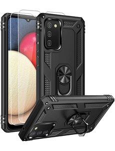 Ntech Samsung A02s Hoesje kickstand Armor met Ring houder TPU backcover hoesje - Zwart met Galaxy A02S screenprotector 2 pack