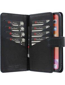 Pierre Cardin iPhone 12 Pro Max Bookcase hoesje - Pierre Cardin - Effen Zwart - Leer
