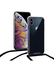 Merkloos Shock hoesje met zwart koord iPhone Xs Max + gratis glazen Screenprotector