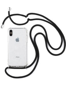 Merkloos Transparant Backcover Hoesje Case iPhone X / XS met zwart koord