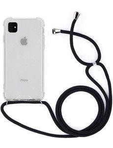 Merkloos Telefoonhoesje met koord iPhone 11 - Zwart - Inclusief Microfiber Doekje - Telefoonkoord – Telefoonhoes – Backcover met Koord – Telefoon Koord – Telefoonketting – Telefoonhoesje met Koord – Hoesje met Koord - Ketting Koord – Transparant -