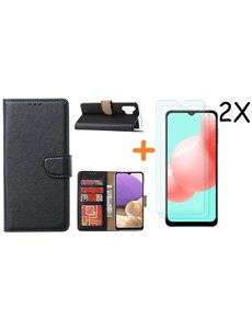 Ntech Samsung A32 hoesje bookcase Zwart - Galaxy A32 4G hoesje portemonnee wallet case - A32 book case hoes cover - Galaxy A32 4G screenprotector / 2X tempered glass