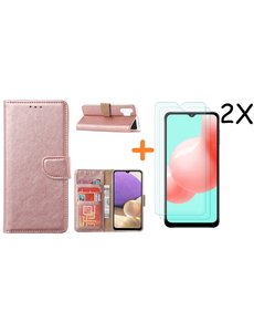 Ntech Samsung A32 hoesje bookcase Rose Goud - Galaxy A32 4G hoesje portemonnee wallet case - A32 book case hoes cover - Galaxy A32 4G screenprotector / 2X tempered glass