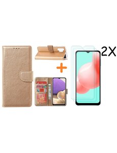 Ntech Samsung A32 hoesje bookcase Goud - Galaxy A32 4G hoesje portemonnee wallet case - A32 book case hoes cover - Galaxy A32 4G screenprotector / 2X tempered glass
