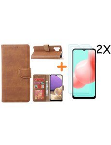 Ntech Samsung A32 hoesje bookcase Bruin - Galaxy A32 4G hoesje portemonnee wallet case - A32 book case hoes cover - Galaxy A32 4G screenprotector / 2X tempered glass