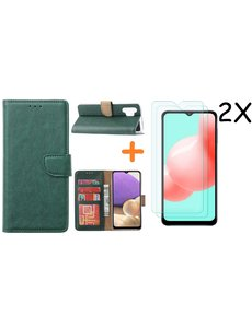 Ntech Samsung A32 hoesje bookcase Groen - Galaxy A32 4G hoesje portemonnee wallet case - A32 book case hoes cover - Galaxy A32 4G screenprotector / 2X tempered glass