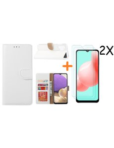 Ntech Samsung A32 hoesje bookcase Wit - Galaxy A32 4G hoesje portemonnee wallet case - A32 book case hoes cover - Galaxy A32 4G screenprotector / 2X tempered glass