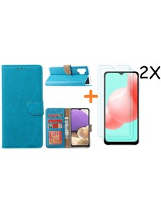 Ntech Samsung A32 hoesje bookcase Blauw - Galaxy A32 4G hoesje portemonnee wallet case - A32 book case hoes cover - Galaxy A32 4G screenprotector / 2X tempered glass