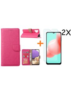 Ntech Samsung A32 hoesje bookcase Pink - Galaxy A32 4G hoesje portemonnee wallet case - A32 book case hoes cover - Galaxy A32 4G screenprotector / 2X tempered glass