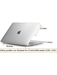 Merkloos Macbook Case voor Macbook Pro 13 inch (2020) A2289/A2251 - Laptop Cover - Transparant Clear