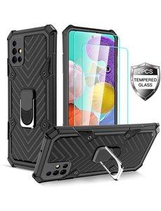Ntech Samsung  A21S hoesje nieuw Schokbestendige ring armor Zwart - Screenprotector Galaxy A21S 2X tempered Glass