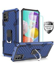 Ntech Samsung  A21S hoesje nieuw Schokbestendige ring armor Blauw - Screenprotector Galaxy A21S 2X tempered Glass