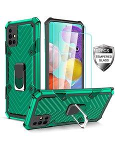 Ntech Samsung  A21S hoesje nieuw Schokbestendige ring armor Groen - Screenprotector Galaxy A21S 2X tempered Glass