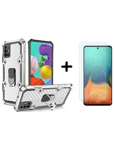 Ntech Samsung  A51 hoesje nieuw Schokbestendige ring armor Zilver - Screenprotector Galaxy A51 2X tempered Glass