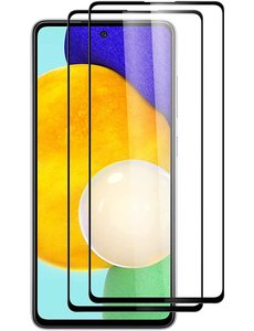 Ntech Full cover Samsung A52 5G Screenprotector Galaxy A52 5G gehard glas Zwart - 2 Stuks