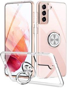 Ntech Samsung S21 Plus hoesje - Luxe TPU Backcover Clear - Samsung Galaxy S21 Plus met Ring houder / Ring vinger houder / standaard