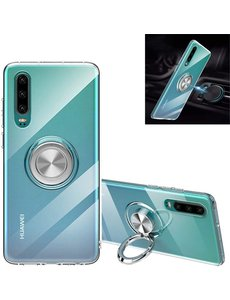 Ntech Huawei P30 Lite / P30 Lite New Edition hoesje Luxe Carbon Fiber Ring houder Armor - Transparant