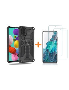 Ntech Samsung A51 Hoesje Military Grade Invisible Built-in Kickstand - Galaxy A51 Metal Plate, Anti-Scratch Shockproof Zwart - Screenprotector Galaxy A51-2 Pack