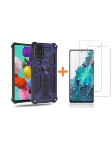 Ntech Samsung A51 Hoesje Military Grade Invisible Built-in Kickstand - Galaxy A51 Metal Plate, Anti-Scratch Shockproof Blauw - Screenprotector Galaxy A51-2 Pack