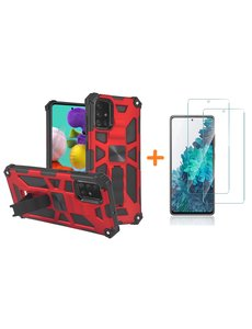 Ntech Samsung A51 Hoesje Military Grade Invisible Built-in Kickstand - Galaxy A51 Metal Plate, Anti-Scratch Shockproof Rood - Screenprotector Galaxy A51-2 Pack