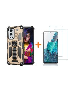 Ntech Samsung A51 Hoesje Military Grade Invisible Built-in Kickstand - Galaxy A51 Metal Plate, Anti-Scratch Shockproof Goud - Screenprotector Galaxy A51-2 Pack